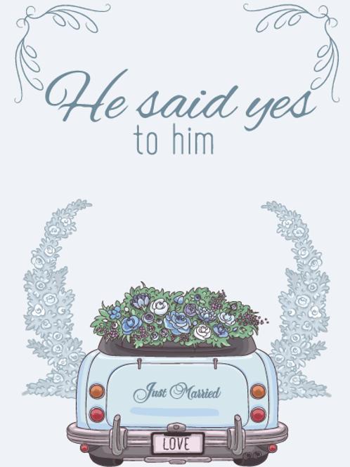 Two Grooms Wedding Car Card