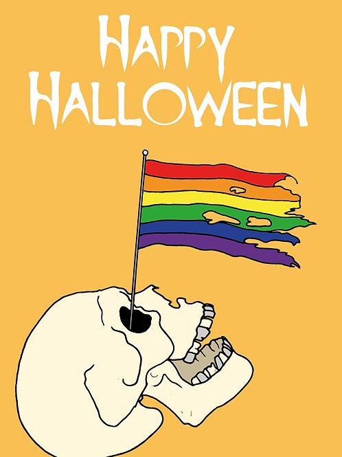 Rainbow Skull Halloween Card