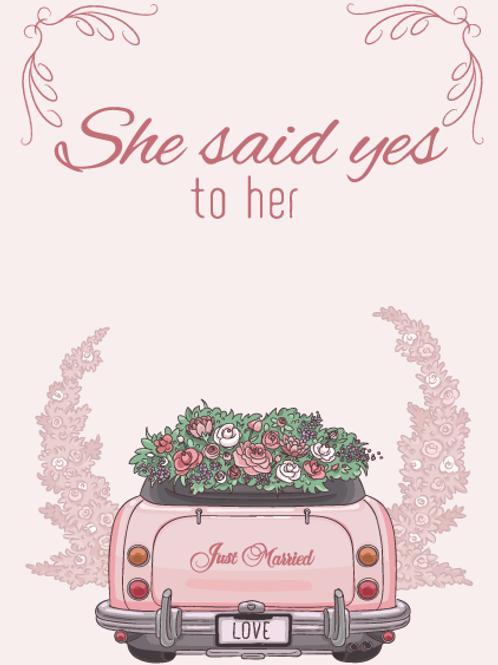 Two Brides Wedding Car Card