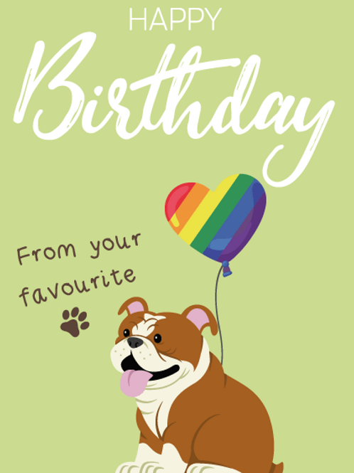 English Bulldog Birthday Card