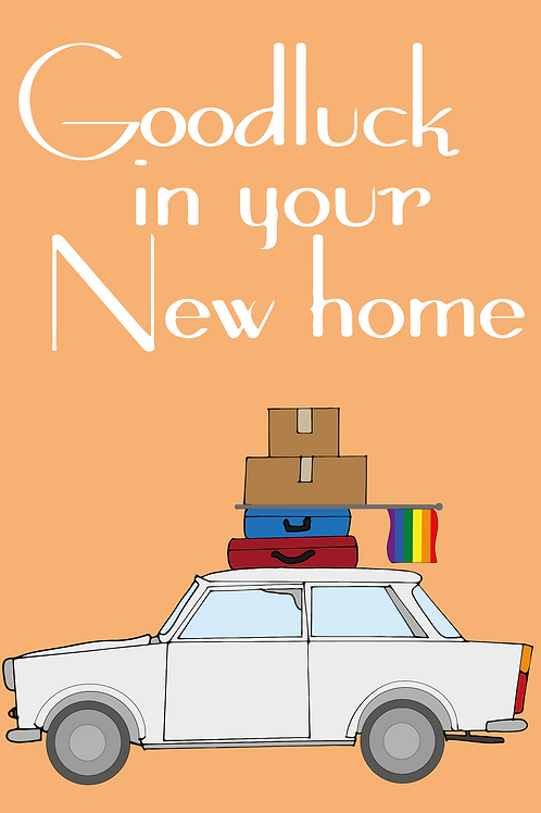 Gay Flag Moving House Card