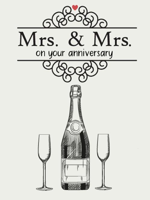 Mrs & Mrs Champagne Anniversary Card