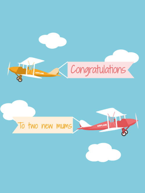 Two New Mums Airplane Card