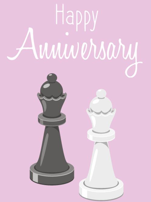 Gay Queen Chess Pieces Card