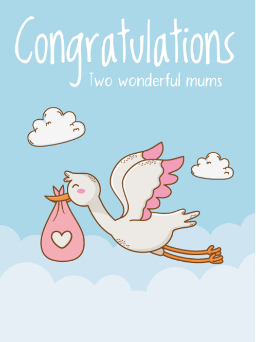 New Mums Stork Card