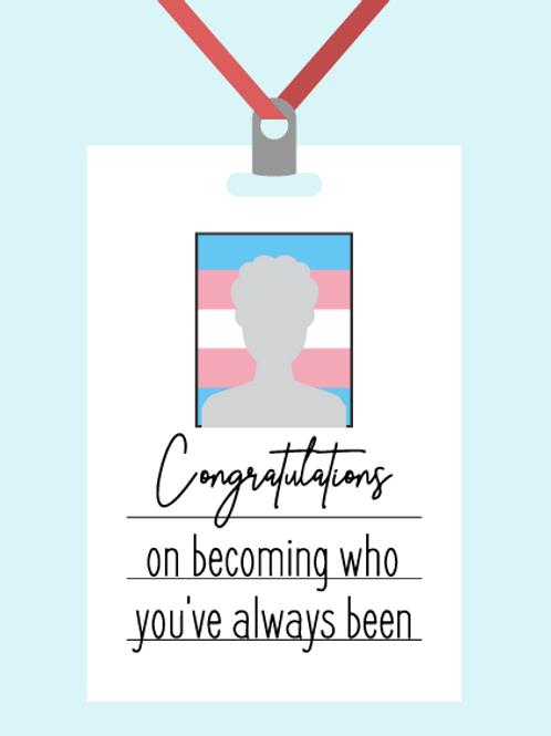 Blue Congratulations ID Card