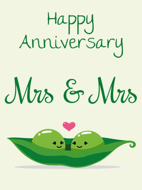 Mrs Peas Anniversary Card