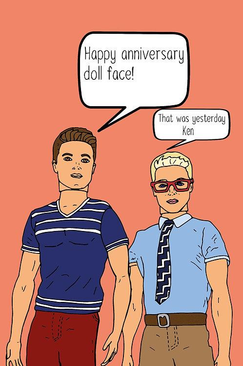 Gay Men Dolls Anniversary Card