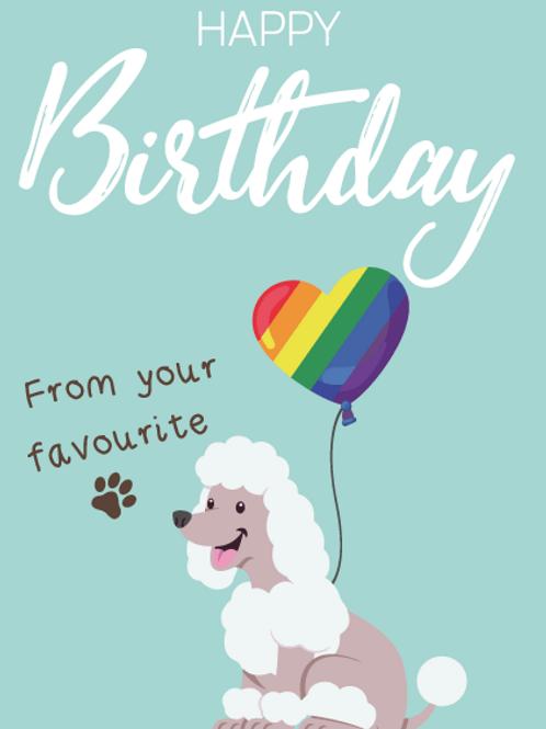Poodle Dog Birthday Card