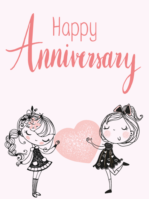 Mrs & Mrs Animation Anniversary Card