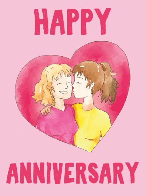 Gay Women Heart Anniversary Card
