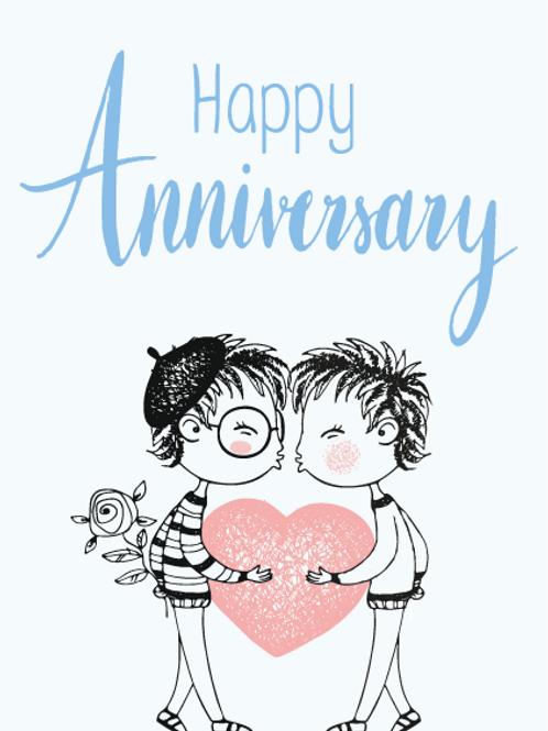 Mr & Mr Animation Anniversary Card