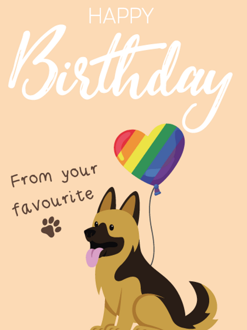 German Shepard Birthday Card