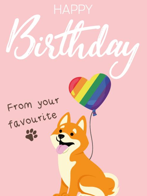 Hokkaido Dog Birthday Card