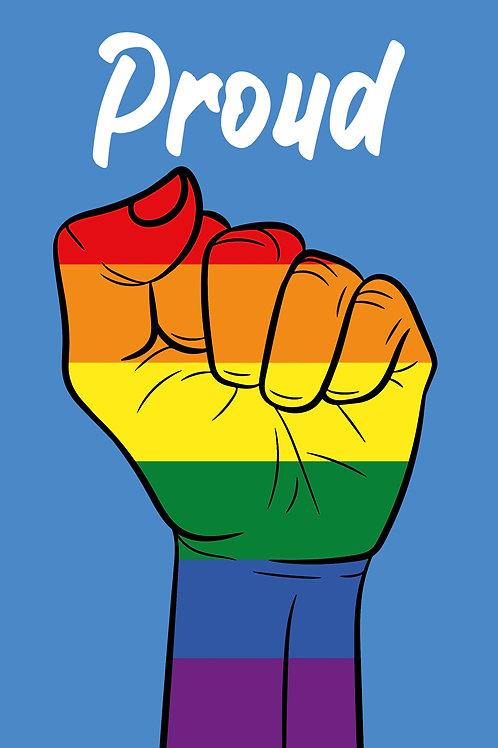 Proud Rainbow Fist Card
