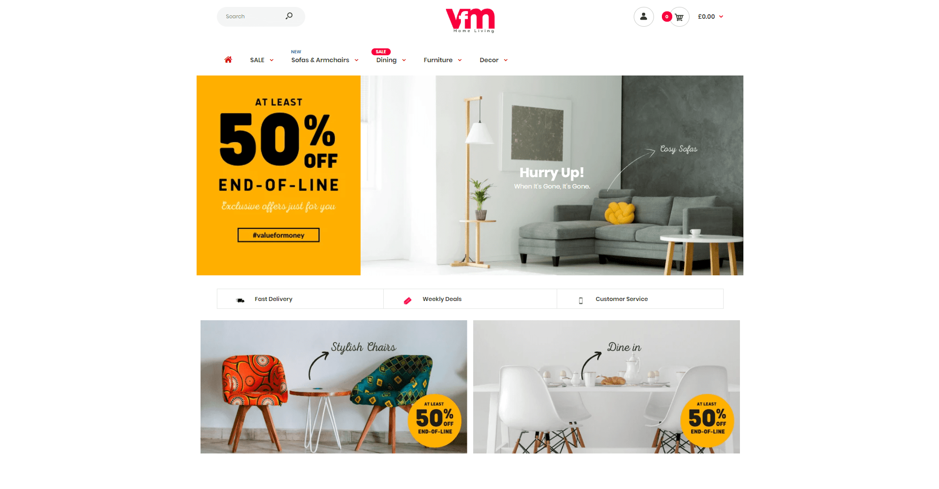 VFM Home Living Shopify website