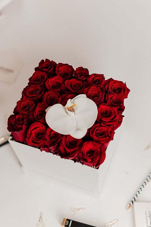 Scatola con rose - Rosse  | Rose Box - Red | Consegna Fiori Milano