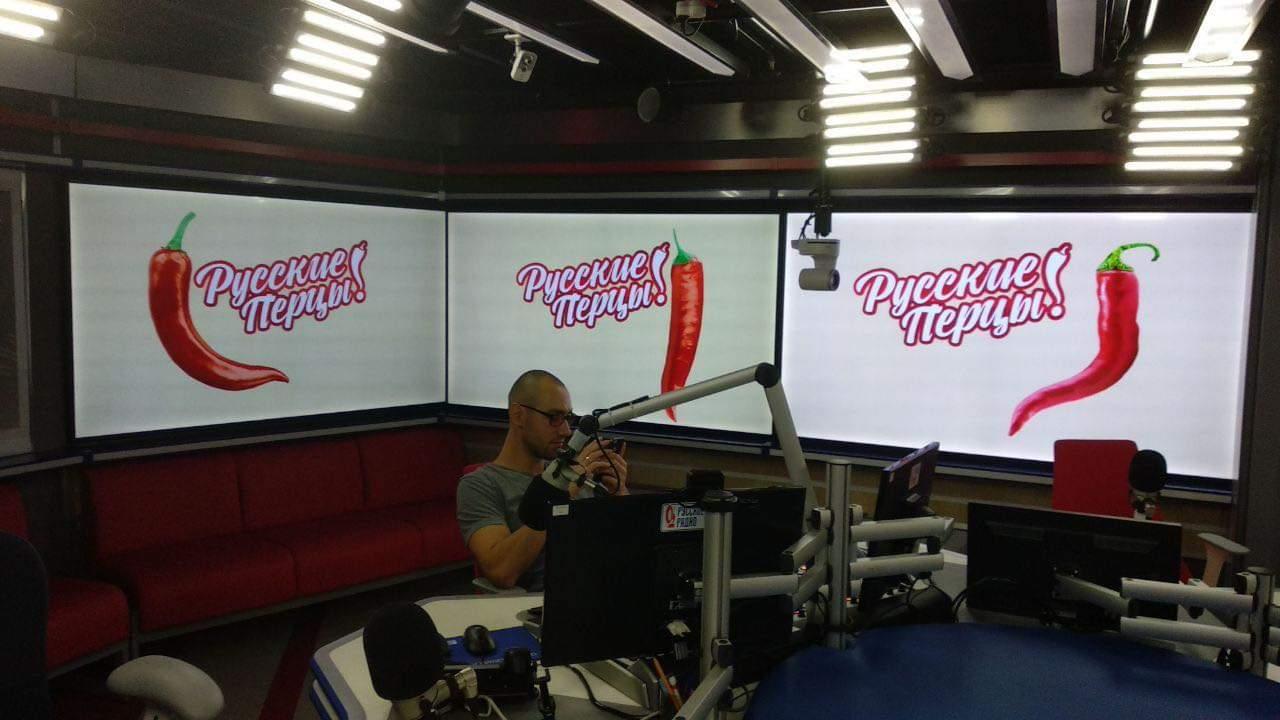 Видеостена в студии Русского Радио