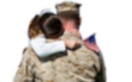 child hugging service member
