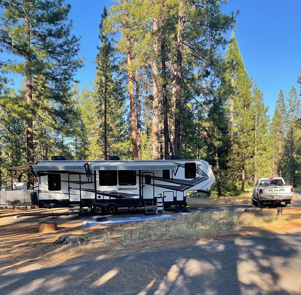 Grand Design Momentum RV campsite at Eagle Lake Recreation Area, California