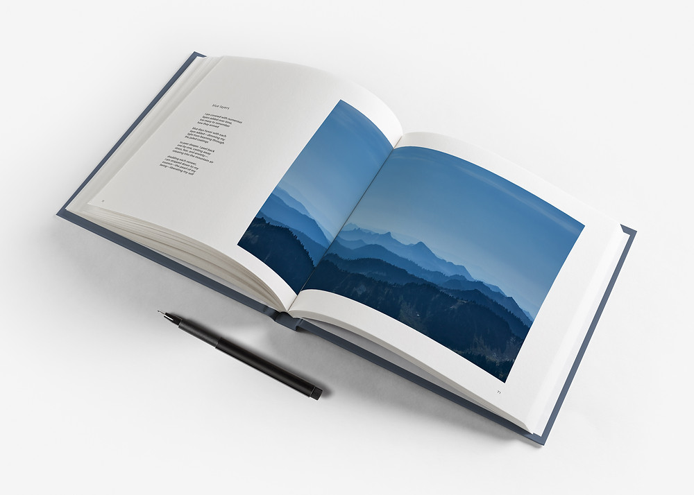 Beautiful coffee table photobook with poetry on one page and landscape photograph on the other page