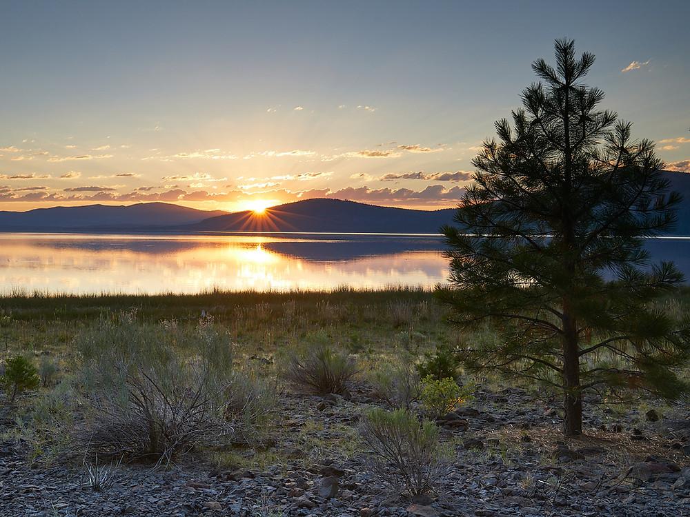 Golden Serene Sunrise sheds warmth at Eagle Lake, California