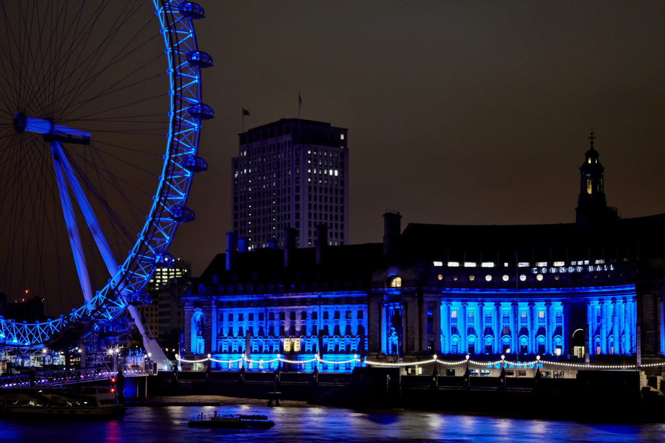 London Eye in Blue