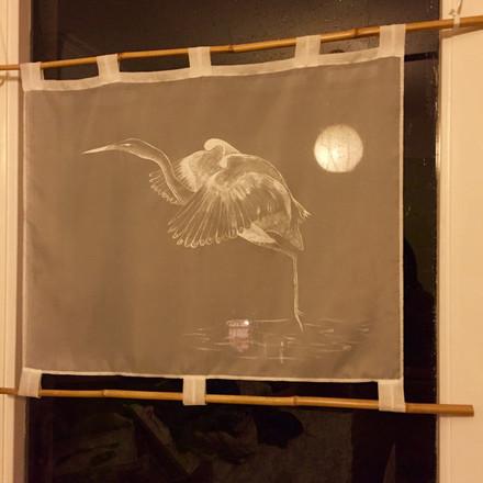 Chris's Handpainted Heron Window Screen