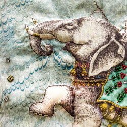 Beaded and Quilted Elephant Picture