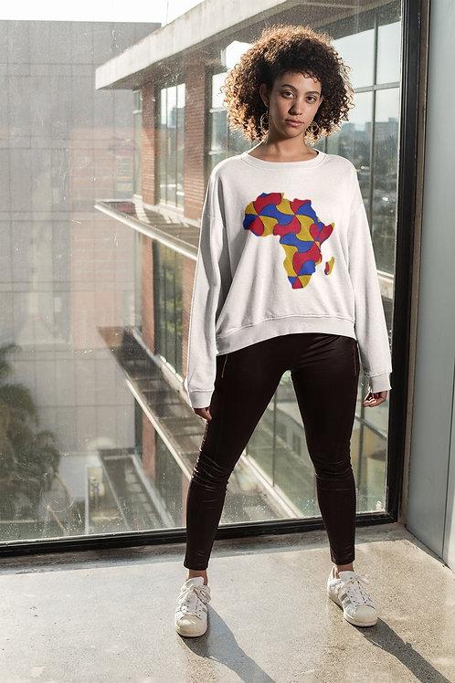 "Crewneck blanc -Femme ""Map Africa Color"""