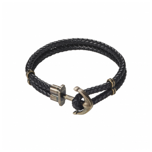 IP Bronze Stainless Steel/Black Leather Anchor Bracelet