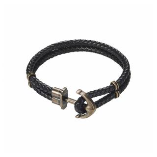 IP Bronze Stainless Steel/Black Leather Anchor Bracelet