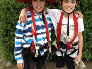 The children from Group 5 face the challenge of our High Ropes Course.