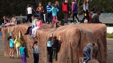 Excitement as the new Bouldering Rock opens.