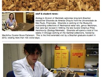 Look Mom, I'm in a Field Museum Newsletter.