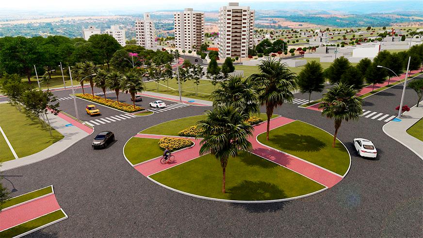 Bairro Portal do Vale Bairro Planejado em Uberlândia WV empreedimentos - rotatória