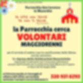 La Parrocchia cerca Volontari Maggiorenni