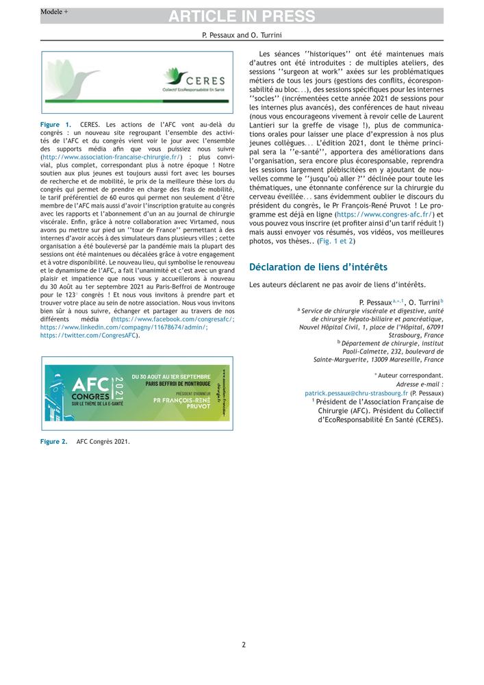 Article report de l'AFC 2021 - Journal de Chirurgie Viscérale