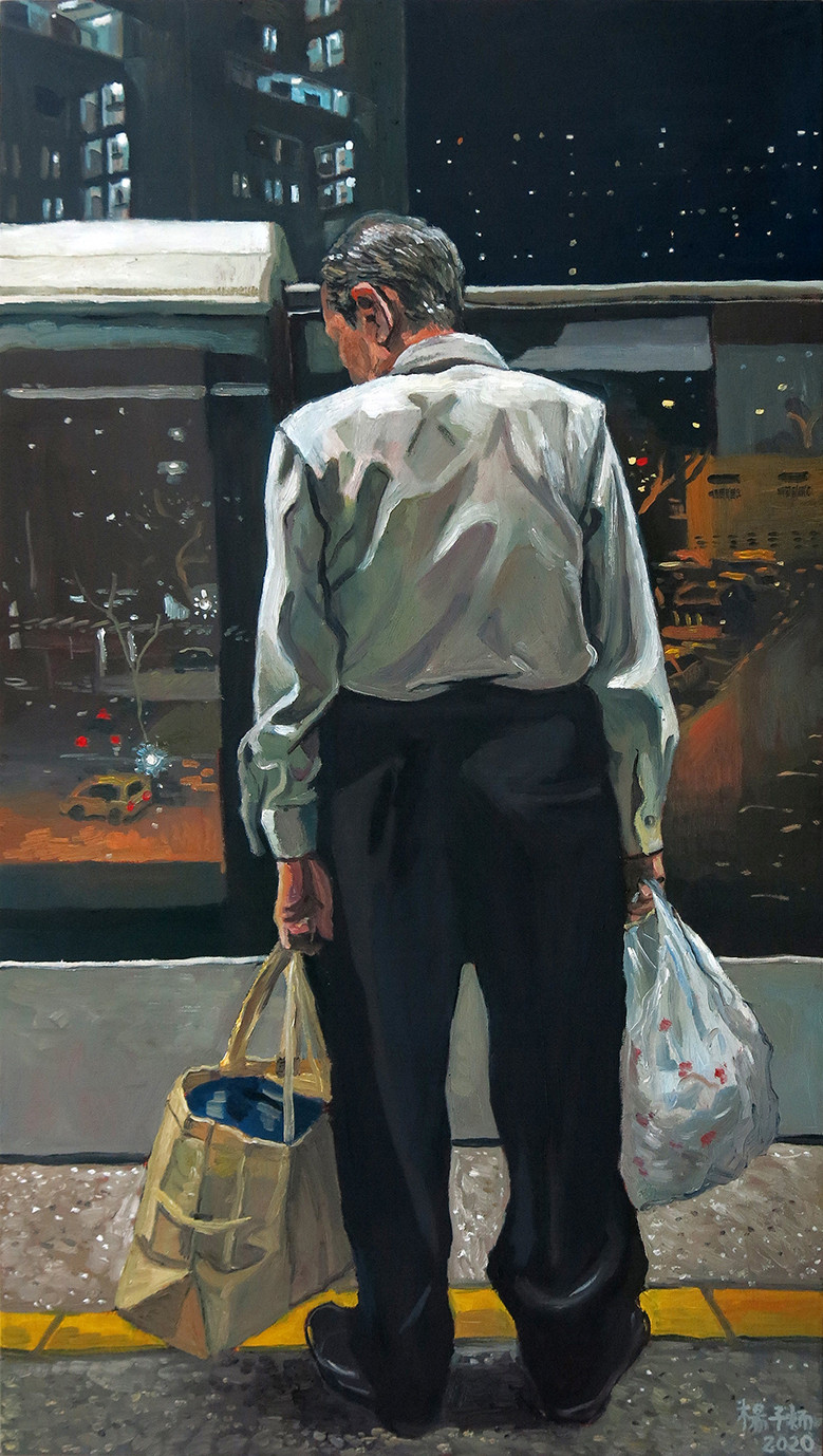 Man Waiting On The Platform, 2020, Oil on canvas, 100 x 55cm  Private Collection, Singapore
