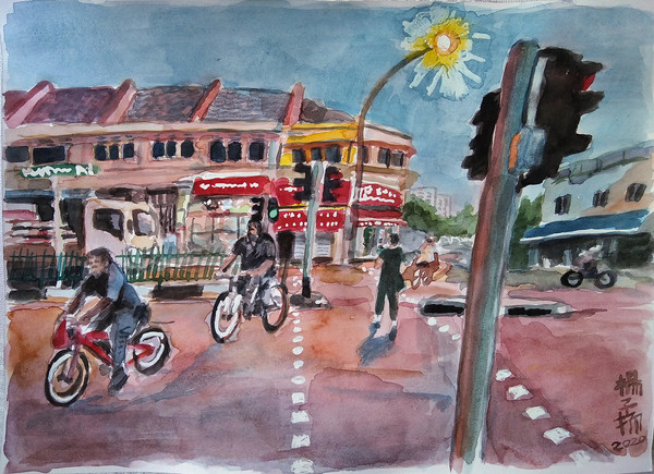 Cyclists Crossing The Road, 2020, Watercolour and correction fluid on paper, 21 x 29.7cm