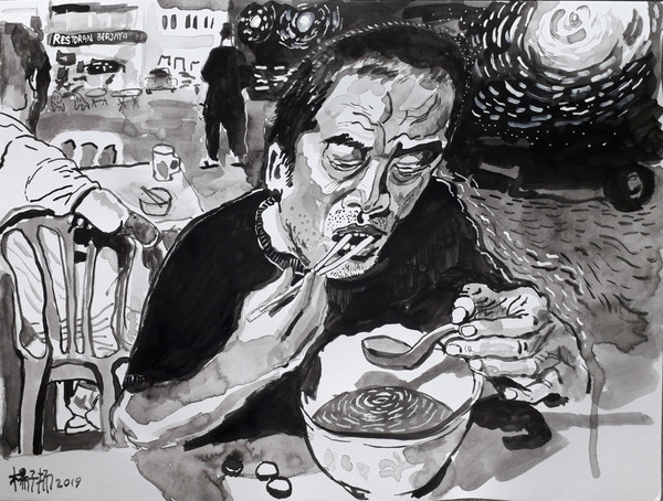 Noodle Soup, 2019, Acrylic and watercolour on paper, 29.7 x 38.1cm  Private Collection, Malaysia
