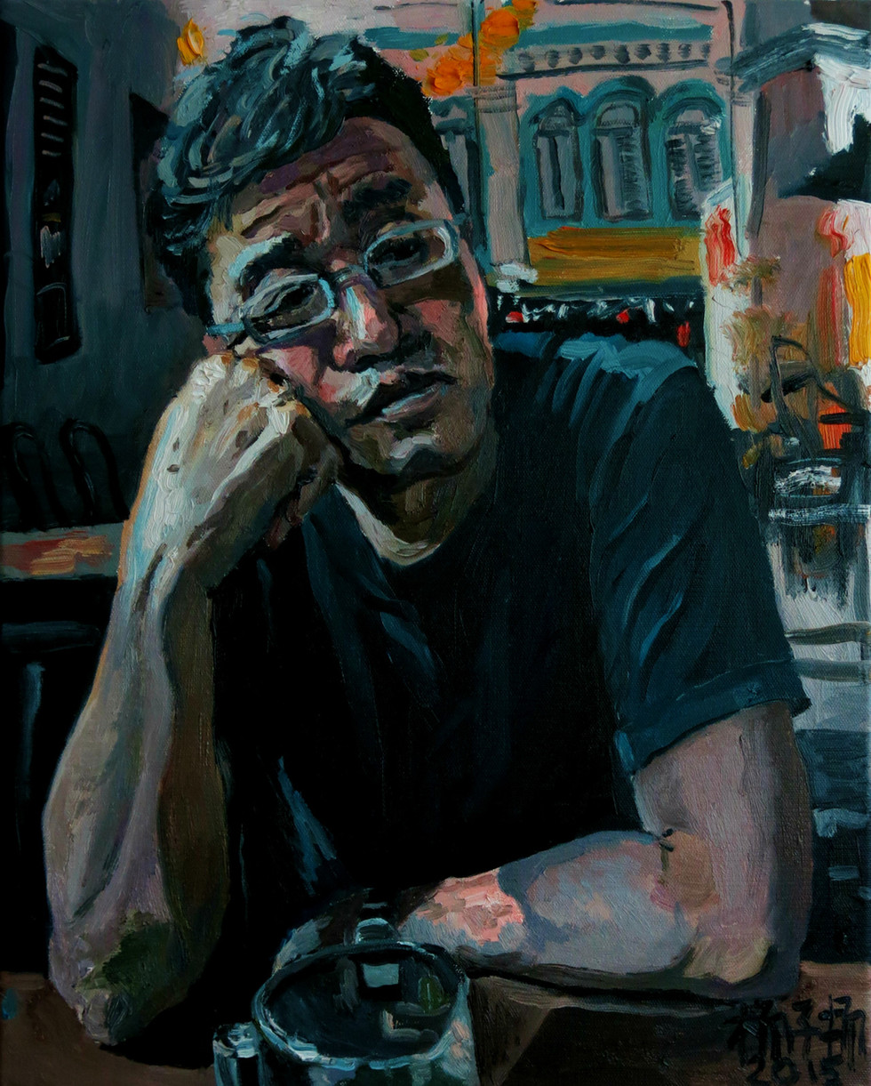 Daddy at Night, 2015, Oil on canvas, 50.8 x 40.6cm  Private Collection, Singapore