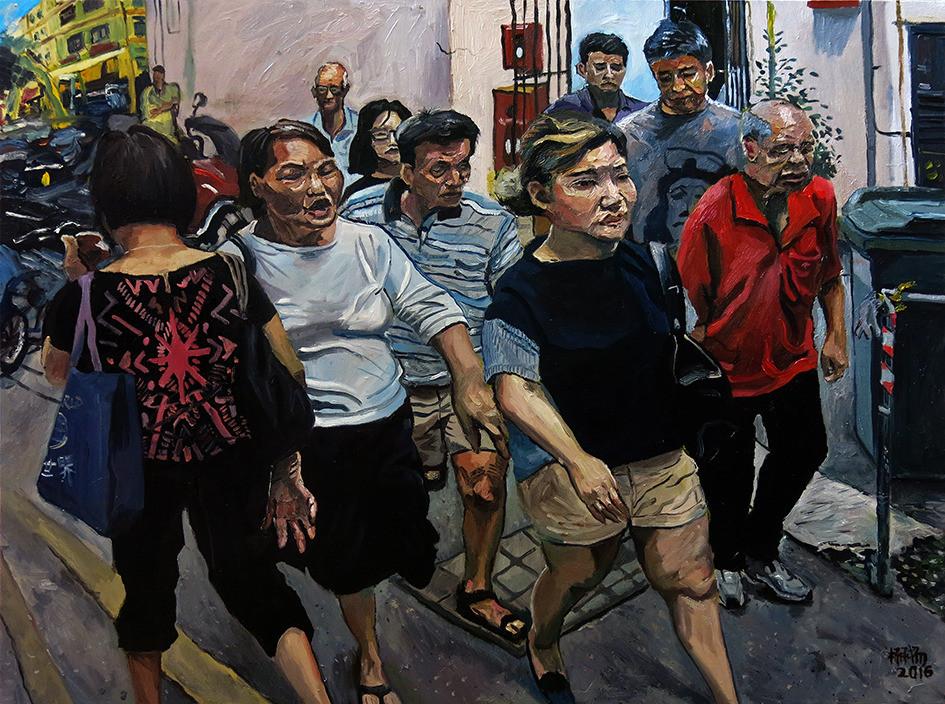 行人 Pedestrians, 2016, Oil on canvas, 102 x 76cm  Private Collection, Singapore