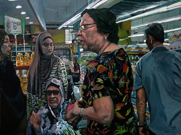 Grocery Shopping, 2017, Oil on canvas, 92 x 122cm