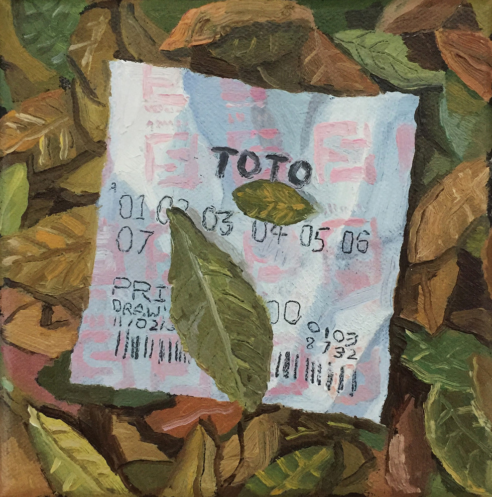 Lottery Ticket, 2019, Oil on canvas, 15 x 15 cm  Private Collection, Singapore
