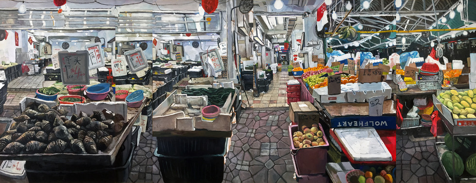 Fruits and Vegetables Shop, 2018, Oil on canvas, 180 x 447cm (6 panels)  Private Collection, Singapore