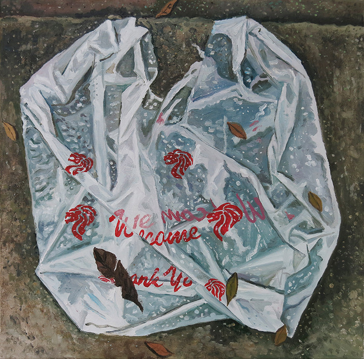 Plastic Bag, 2020, Oil on canvas, 50.5 x 50.5cm Private Collection, Malaysia