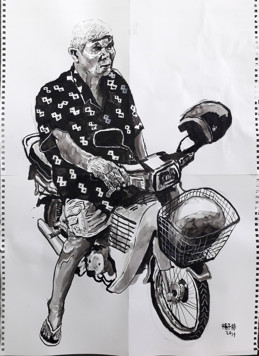 Man on a Bike, 2019, Acrylic and watercolour on paper, 84 x 59.4cm  Private Collection, Malaysia