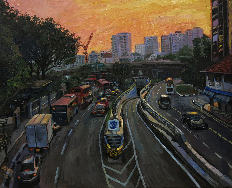 The Sky Was Still Bright When I Left The Office, 2019, Oil on canvas, 76 x 60.5cm  Private Collection, Singapore/Hong Kong