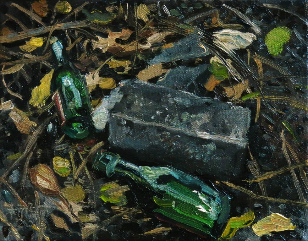 Bottles, 2016, Oil on canvas,  20.4 x 15cm  Private Collection, Singapore